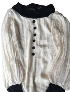 Robert Rodriguez Pleats Tuxedo Chic Silk Top White and Black
