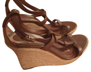 Burberry Brown with Burberry checkered print Wedges