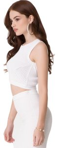 bebe Crop Mesh Top White