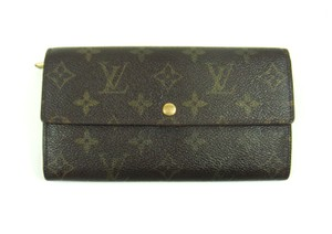 Louis Vuitton Sarah Monogram Canvas Leather Clutch Wallet France w/ Box