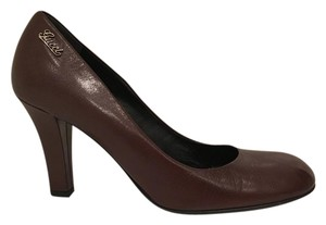 Gucci Leather Pump Heel Brown Pumps