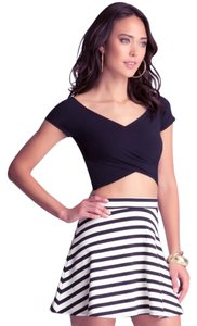 bebe Crop Wrap Top Black