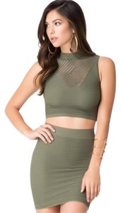 bebe Crop Mock Top Olive