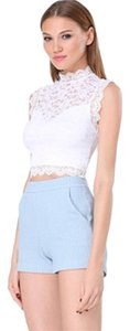 bebe Crop Lace Top White