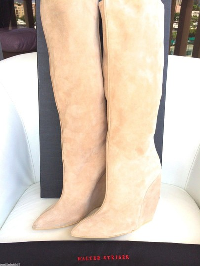 Walter Steiger Walter Suede Camel Wedge Knee Knee High Pull On Luxury Beige Boots