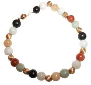 Chinese Jade Multi-Color Jade ~ 14 kt. gold bead bracelet ~ 7.50