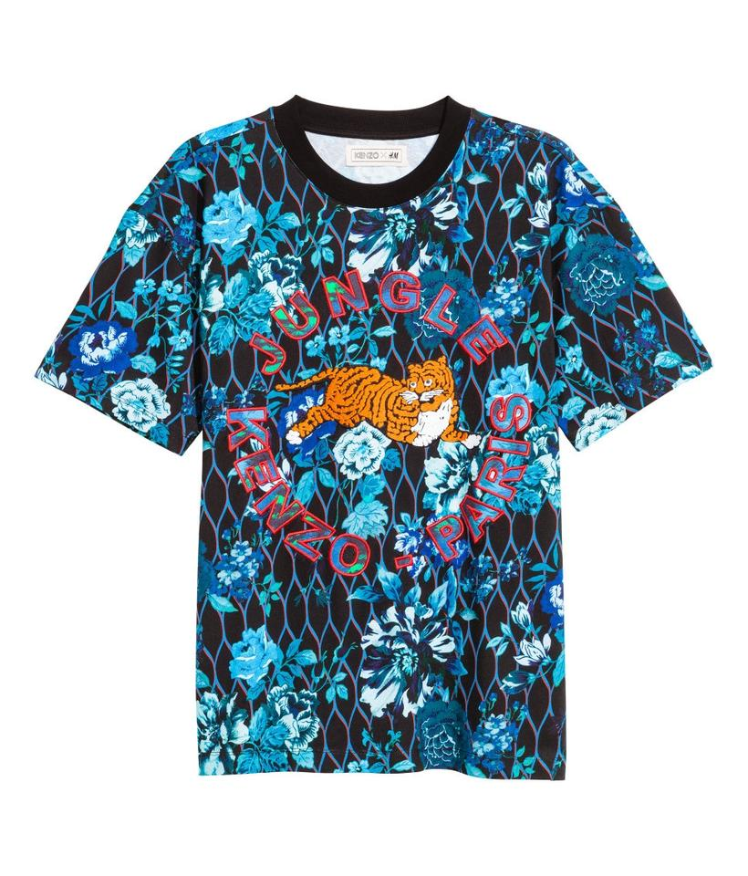 kenzo blue floral x h m t shirt extra small tee shirt size. Black Bedroom Furniture Sets. Home Design Ideas