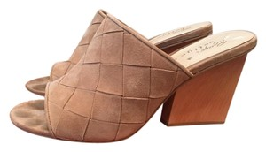 Bettye Muller Suede Leather Tan Beige Mules