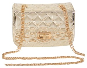 Other Metallic Link Chain Strap Turnlock Closure Rose Gold Cross Body Bag