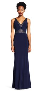 Adrianna Papell Mermaid Gown Insets Sheer V-neck Dress