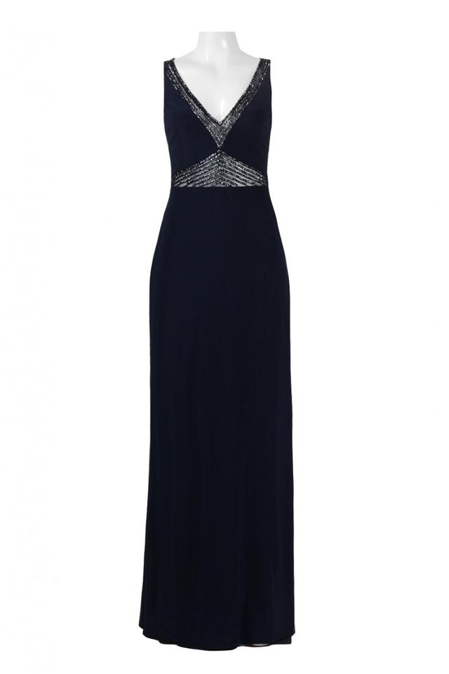 Adrianna Papell Midnight Mermaid Gown with Beaded Sheer Insets Long ...