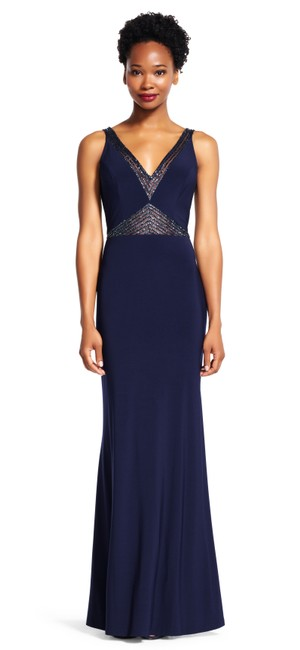 Adrianna Papell Mermaid Gown Insets Sheer V-neck Dress Image 3