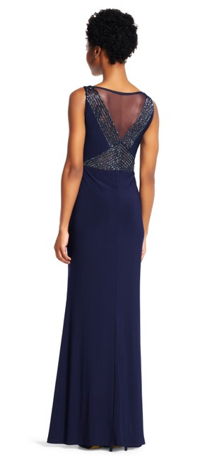 Adrianna Papell Mermaid Gown Insets Sheer V-neck Dress Image 4