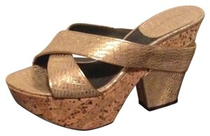 Donna Karan Platform Goldtone Gold Wedges