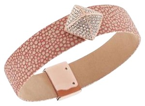 Michael Kors Nwt Boxed Pave Pyramid Pink Leather Bracelet