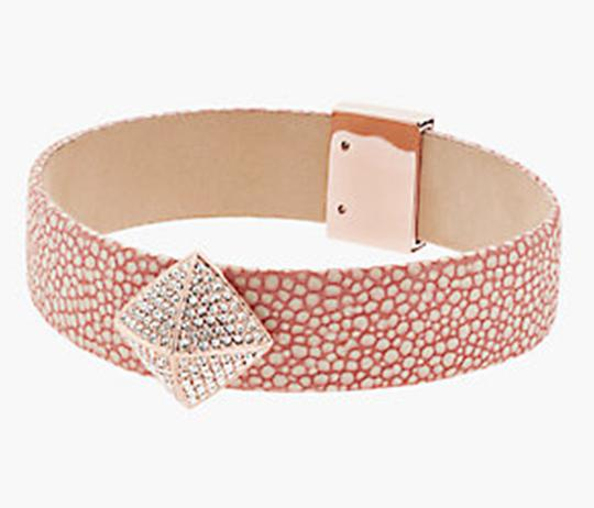Michael Kors Nwt Boxed Pave Pyramid Pink Leather Bracelet Image 1