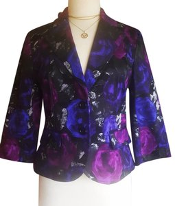 Michael Kors Mk Floral Jacket Purple Blazer