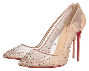 Christian Louboutin Embellished Mesh Glitter Nude Crystal-Embellished Follies Strass Pumps