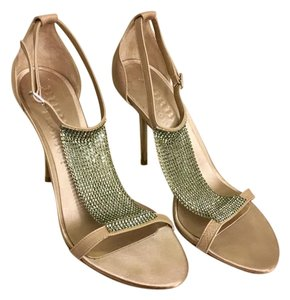Burberry 4 Inch Heel Open Toe Ankle Strap Cut Crystals Sand Formal