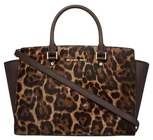 Michael Kors Mk Satchel in Brown Leaopard Calfhair /Gold hardware