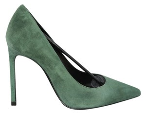 Saint Laurent Suede Pointed Toe Pump Shoe green Pumps