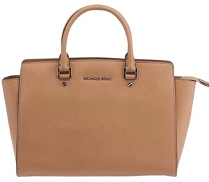 Michael Kors Saffiano Leather Satchel in Tan Brown/Gold Tone Hardware