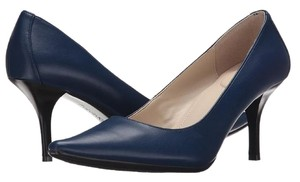 Calvin Klein Faux Leather Pointed Toe Padded Heel Navy Pumps