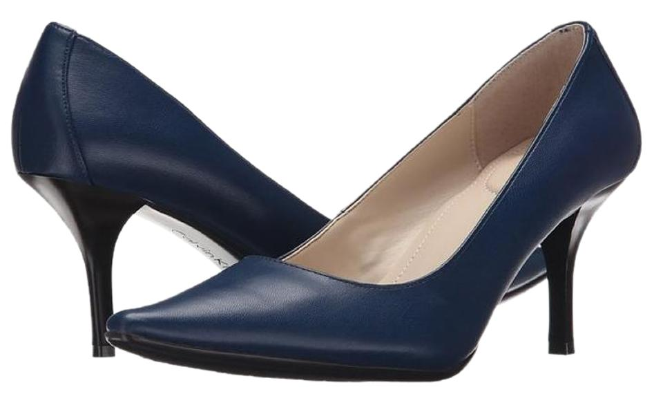 d6bb3033c65 Calvin Klein Faux Leather Pointed Toe Padded Heel Navy Pumps Image 0 ...