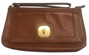 Longchamp Leather Wallet Leather Cognac Clutch