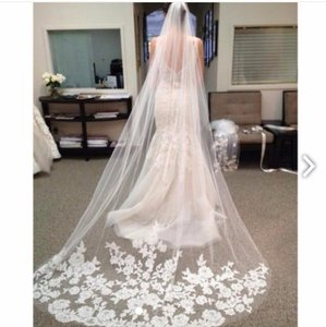 New Beautiful Cathedral Length Veil With Lace Edge