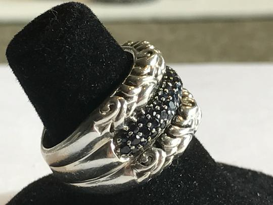 Charles Krypell CHARLES KRYPELL ST SILVER IVY PAVE BLK SAPPHIRE RIng Image 1