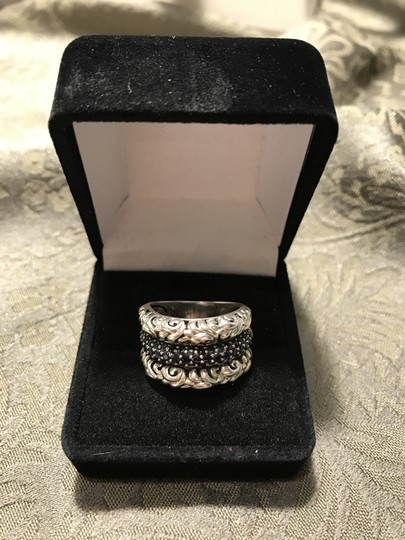 Charles Krypell CHARLES KRYPELL ST SILVER IVY PAVE BLK SAPPHIRE RIng Image 2