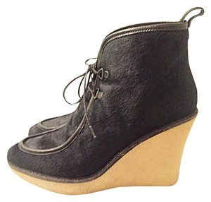 3.1 Phillip Lim Wedge Booty Crepe Pony Hair Black Boots