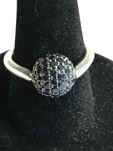 Charles Krypell Charles Krypell St Silver Ball Ring w/89 Black Sapphires - Rare