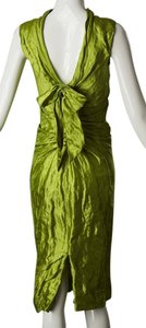 Oscar de la Renta Metallic Drapedback Dress