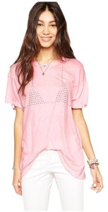 Wildfox Studded Oversized Soft Shortsleeve T Shirt Pink, Silver, Peaches