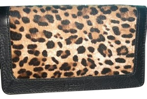 Coach Coach Ocelot Haircalf and Black Pebbled Leather Wallet