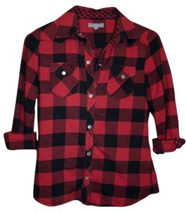 dELiA*s Checkered Button Up Button Down Shirt Red Buffalo Plaid
