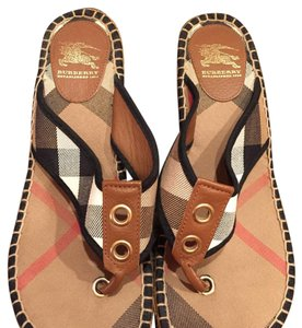 Burberry Tan, black, red Wedges