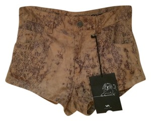 RVCA Eric Wasson High Waist Suede Faux Leather Pleather Silk High Waist Festival Shorts Faux Suede