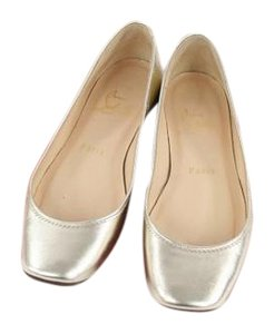 Christian Louboutin Leather Ballerina Gold Flats