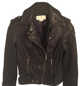 MICHAEL Michael Kors Dark Brown Leather Jacket