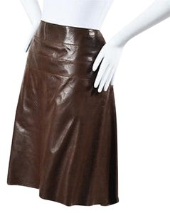 Chanel Lambskin Leather Pin Hole Pattern High Low Skirt Brown