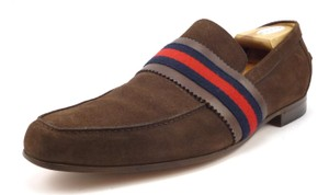Gucci Men's Suede Web Strap Slip On Loafers