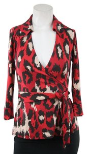 Diane von Furstenberg Red Leopard Wrap Top