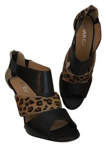 Vaneli Black Tan Leopard Cowhide Pumps