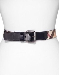 Burberry NWT BURBERRY CHECK BLACK LEATHER TRIM BELT SZ 28/70 MADE IN ITALY