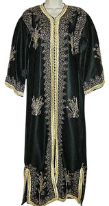 Black, Gold Embroidery Maxi Dress by Other Moroccan Djelleba Kaftan Vintage