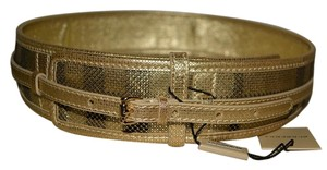 Burberry NWT BURBERRY CHECK HIGH WAISTED SINGLE BUCKLE LEATHER BELT SZ 32