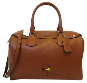 Coach Satchel in Saddle Brown, Yellow, Silver